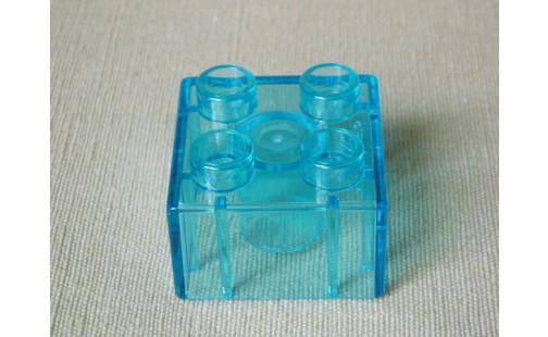 Duplo®  kostka 2 x 2 průsvitná modrá